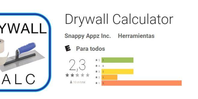 App útil para calcular cuánto drywall se gastaría en una construcción.